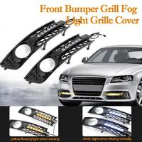2pcs Front Bumper Car Light Shell Grilles Matte Covers w Flowing LED Amber Turn Signal+White DRL Daytime Running Light for A4 B6
