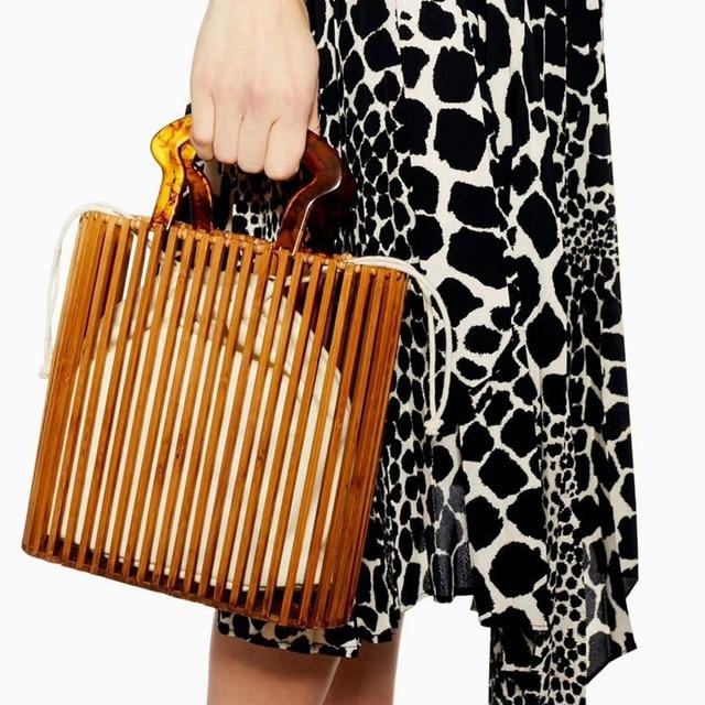 Fashion Women Bags Designer Acrylic Handle Woven Bag Bamboo Bag Stitching Hollow Bag Clutch Bali Beach Holiday Handbag 5