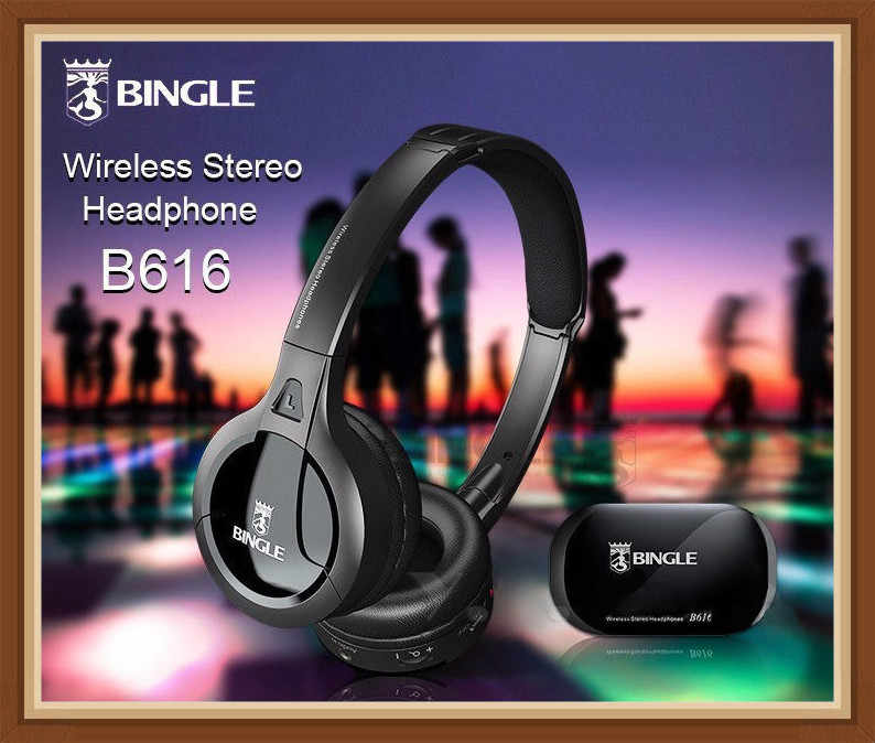 Bingle B616 wielofunkcyjny stereo z mikrofonem Radio FM na MP3 Audio PC zestaw słuchawkowy słuchawki bezprzewodowe do telewizora