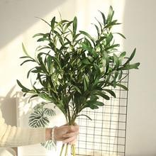 1 * falso flor 6 forquilha artificial falso flores folha de oliva ramo folhas de oliveira folhagem decoração de casa buquês de casamento planta