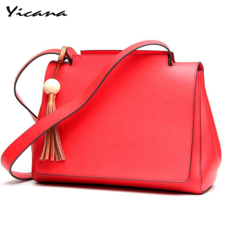 Yicana hot fashion 3 colors  Cow Leather handbag womens large capacity of Tassel wide shoulder straps bagYicana hot fashion 3 colors  Cow Leather handbag womens large capacity of Tassel wide shoulder straps bag