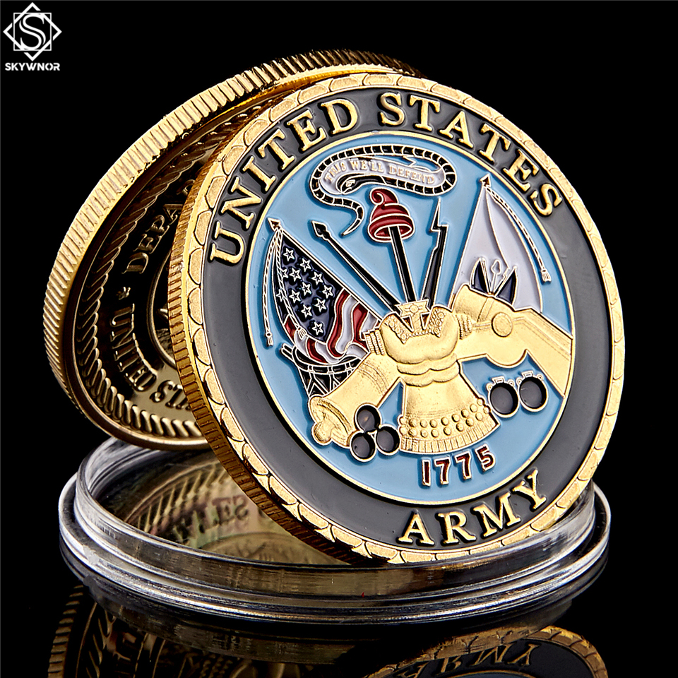 American Military Colorful Marine Corps Gold Plated Coin Challenge Medal Commemorative Coin