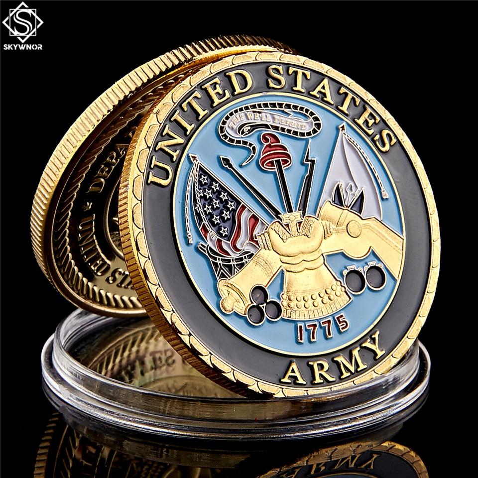 Красочная позолоченная монета американской военной морской пехоты, памятная монета