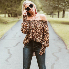 Leopard Off Shoulder Loose Tops RK