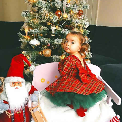 2019 New Xmas Dress Princess Kids Baby Girl Pageant Party Dress+Green Tutu Tulle Dress Children Christmas Sundress Outfits
