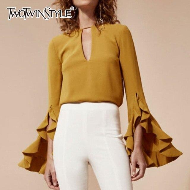 TWOTWINSTYLE Vintage hauts pullover Femmes O Cou Fendu À Volants À Manches Longues Femmes Chemises Chemisier 2019 Printemps Vêtements De Mode