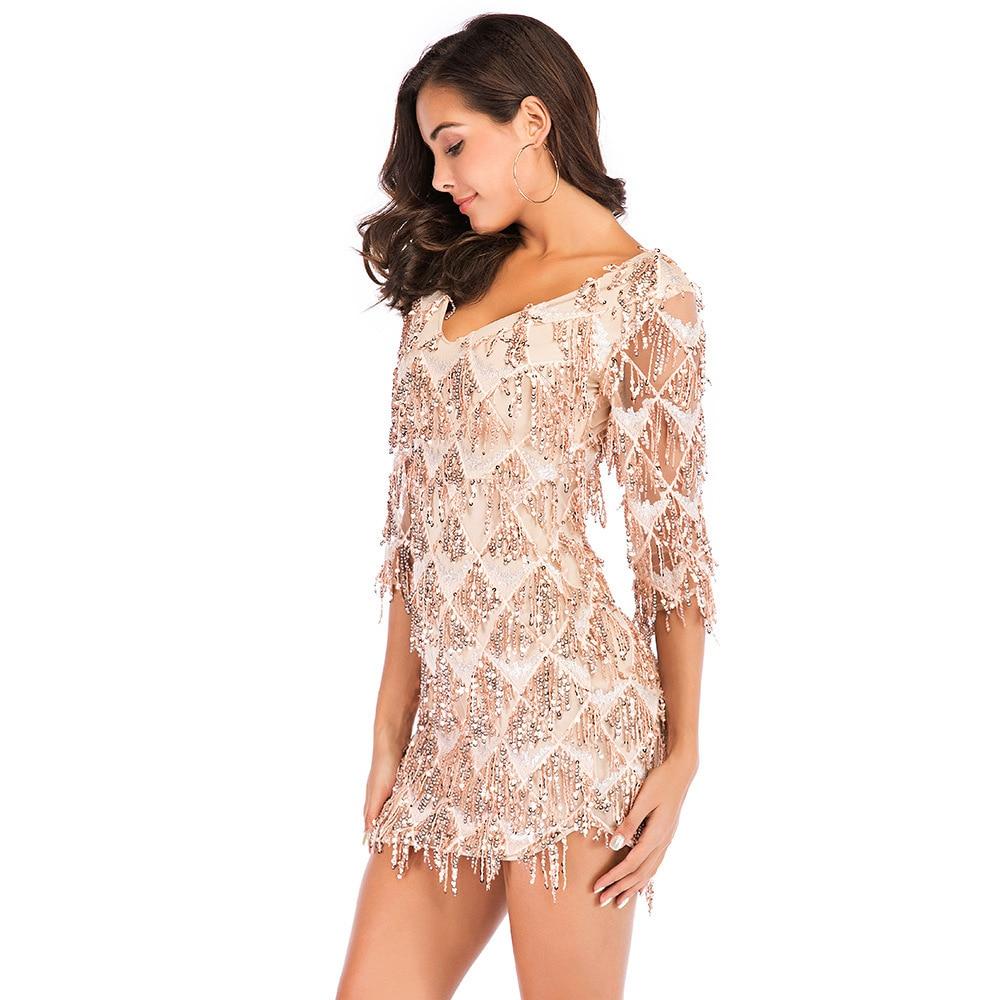 MUXU fashion sexy gold sequin patchwork dress kleider sukienka party dress  clothes vestidos short fringe dress bodycon glitter-in Dresses from Women s  ... 575f0dafd1fe