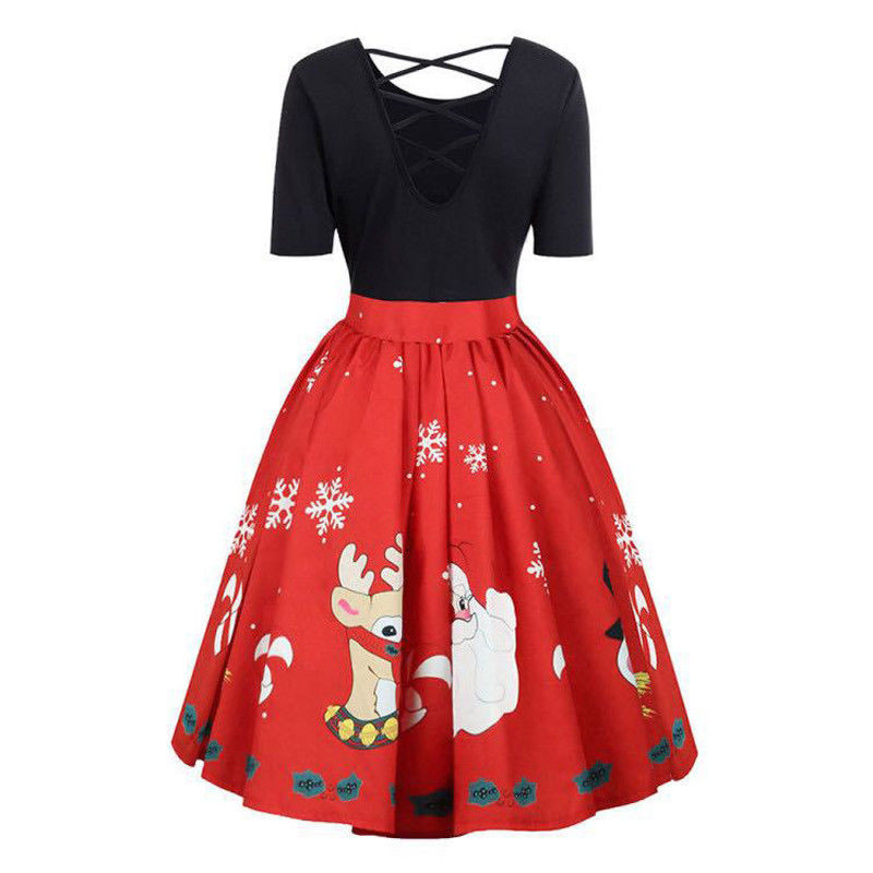 US $7.82 23% OFF|Womens Fashion Plus Size Christmas Dress Short Sleeve Xmas  Santa Claus Printed Criss Cross Party Dress 2019 New Year Dresses 5XL-in ...