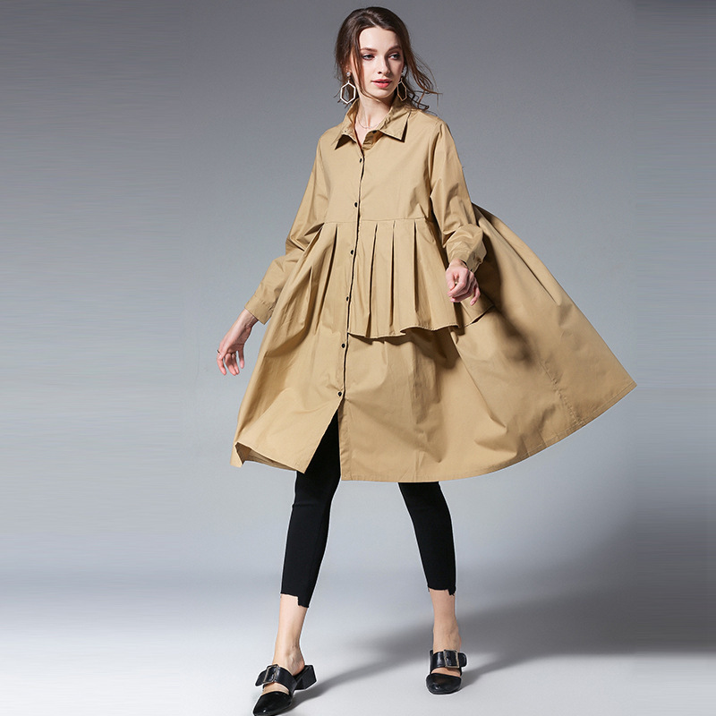 LANMREM 2019 New Fashion Reffule Patchwork Loose Comfortable Shirt Type Dress Female's Long Sleeve Clothing Vestido Spring YF278