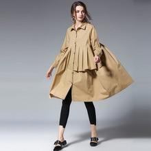 LANMREM 2019 New Fashion Reffule Patchwork Loose Comfortable Shirt Type Dress Females Long Sleeve Clothing Vestido Spring YF278