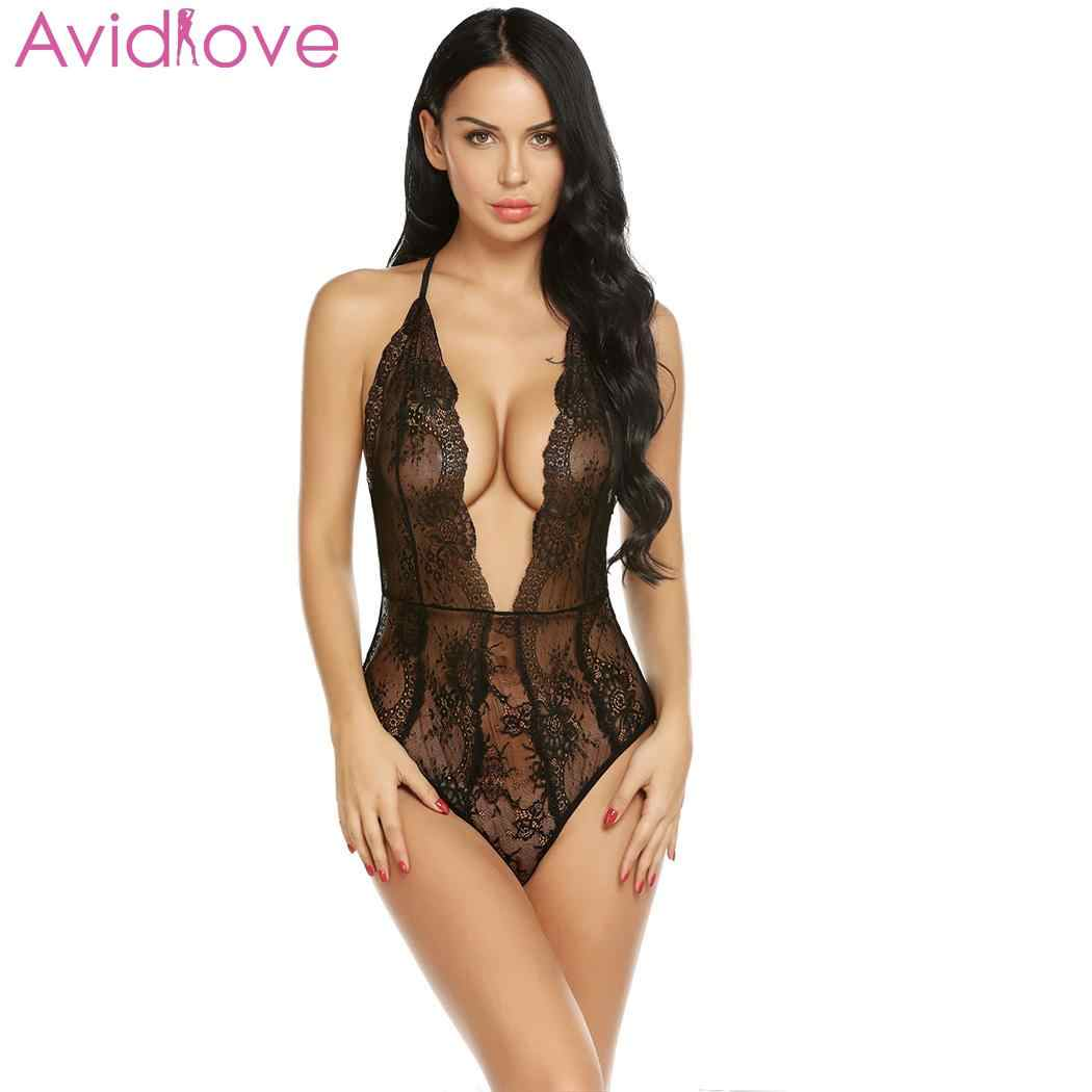 6d7779c40bf Avidlove Women Sexy Lingerie Summer Hot Erotic Lace Deep V Neck Teddy Sexy  Erotic Underwear Floral