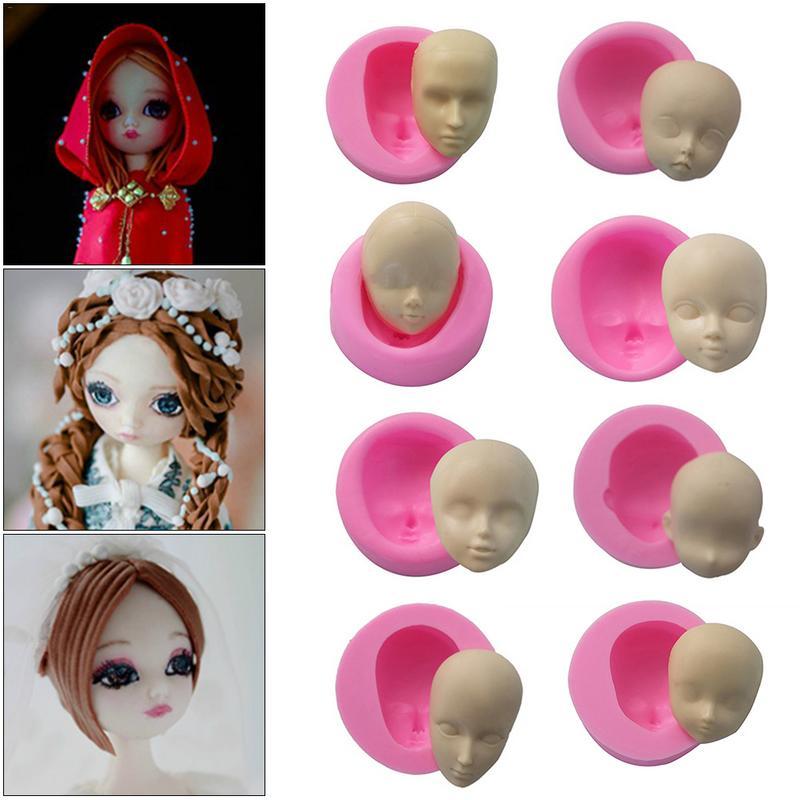 Детские Силиконовые формы для лица, шоколадные формы для рукоделия, куклы, инструменты для украшения тортов из мастики, конфетная глина, мыло, полимерные формы, инструменты для выпечки