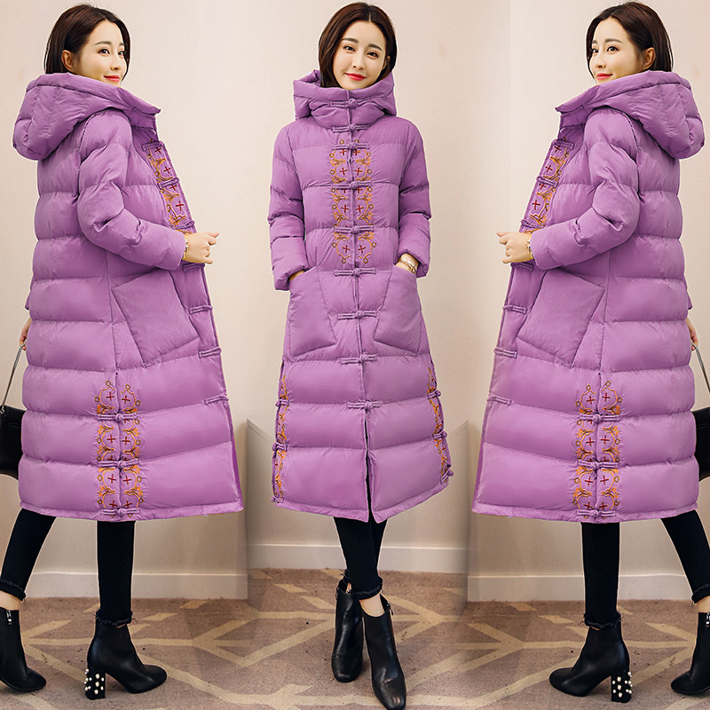 2018 Women's Winter Chinese style Cotton Jackets Thick Warm Cotton Outerwear Embroidery Hooded Coats Medium length Parkas km027