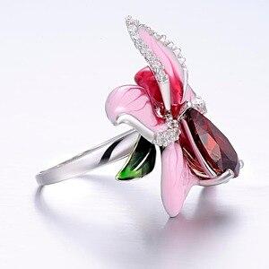 Image 3 - SANTUZZA Silver Flower Ring For Women 925 Sterling Silver Fashion Rings for Women Cubic Zirconia Ringen Party Jewelry Enamel