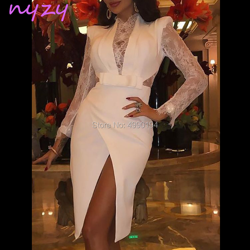 NYZY C68 Vestido Robe   Cocktail     Dresses   Sexy White Satin Lace Long Sleeves High Leg Cut Slit Party   Dress   vestido curto 2019
