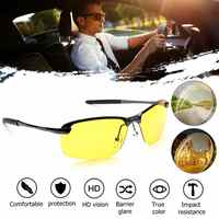 Fashion UV400 Anti-Glare Alloy Polarized Night Vision Glasses with Transparent nose clip Male Driving