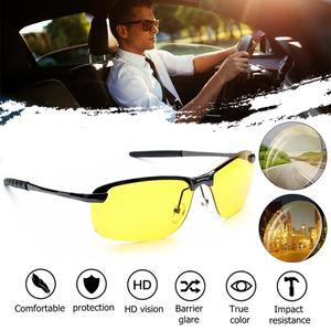 Fashion UV400 Anti-Glare Alloy Polarized Night Vision Glasses with Transparent nose clip Male Driving