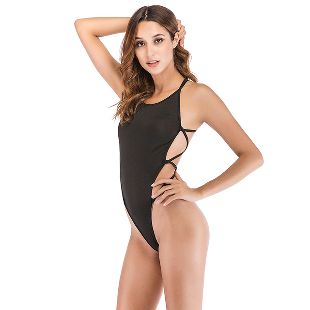 3662fc6c09e8f 2019 Sexy Strappy Backless Bodysuit Women Black Sleeveless Summer Beach Hot  Bodysuits Purple Scoop Neck Cross