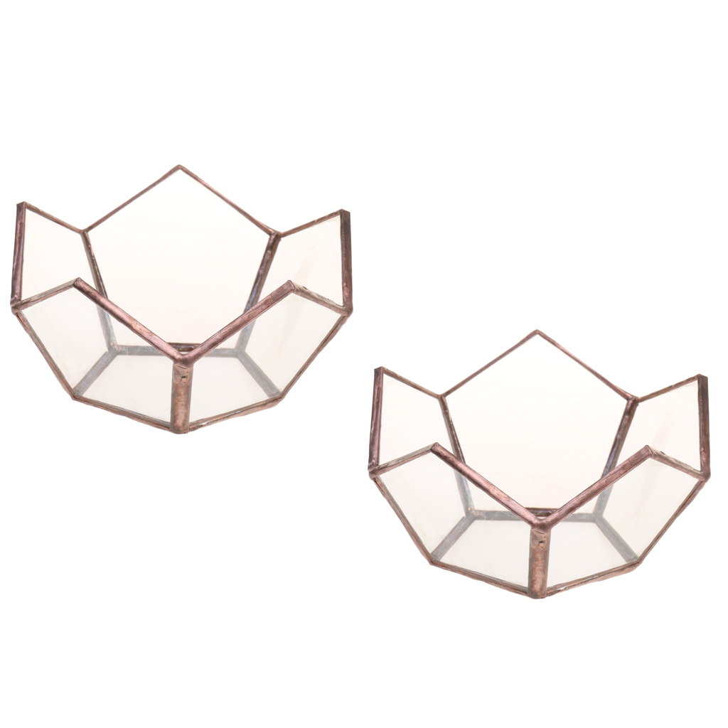 2/set Open Glass Geometric Terrarium Tabletop Succulent Plants Container Candle Holder