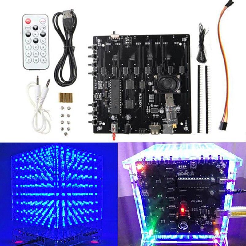 1 ensemble 8x8x8 led Cube 3D Lumière Carré Bleu led Électronique bricolage Outil Kit Cadeau