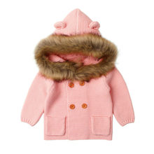 Boys Girls Hooded Knitted Sweaters Hairy Neckline Double-breasted Cartoon Ear Outerwear Pink Gray 5 Colors 3-24M SAN0(China)