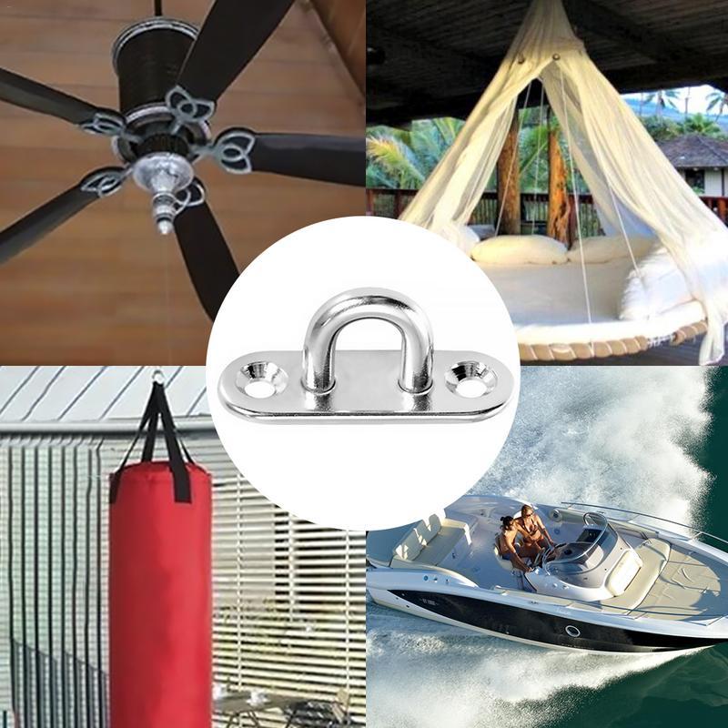 Image 2 - Heavy Duty Stainless Steel Pad Eye Plate Marine Hardware Staple Ring Hook Loop U shaped Marine Rigging Boat Deck Accessories-in Marine Hardware from Automobiles & Motorcycles