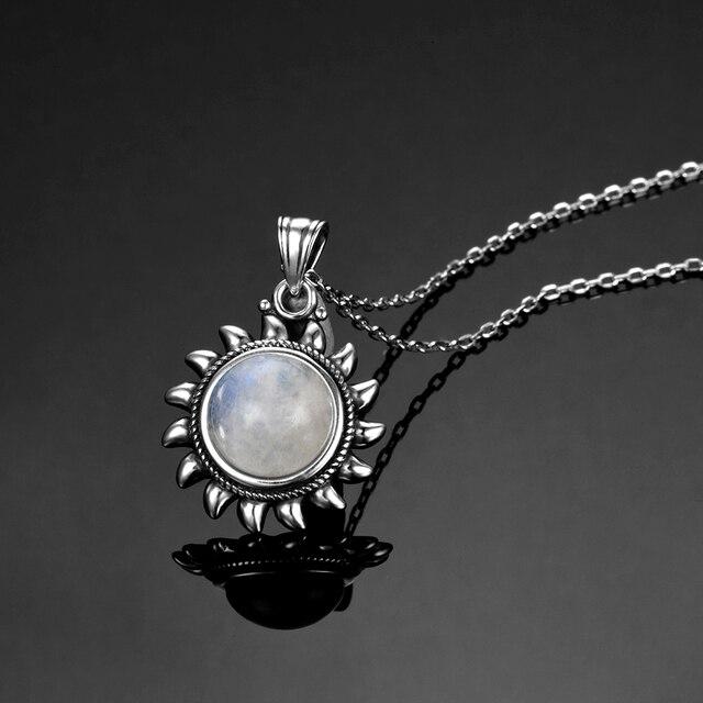 Natural Moonstone 925 silver jewelry Pendants Necklaces For Women Men Sun Geometric Shape Vintage Fashion Woman Pendants Hotsale 2