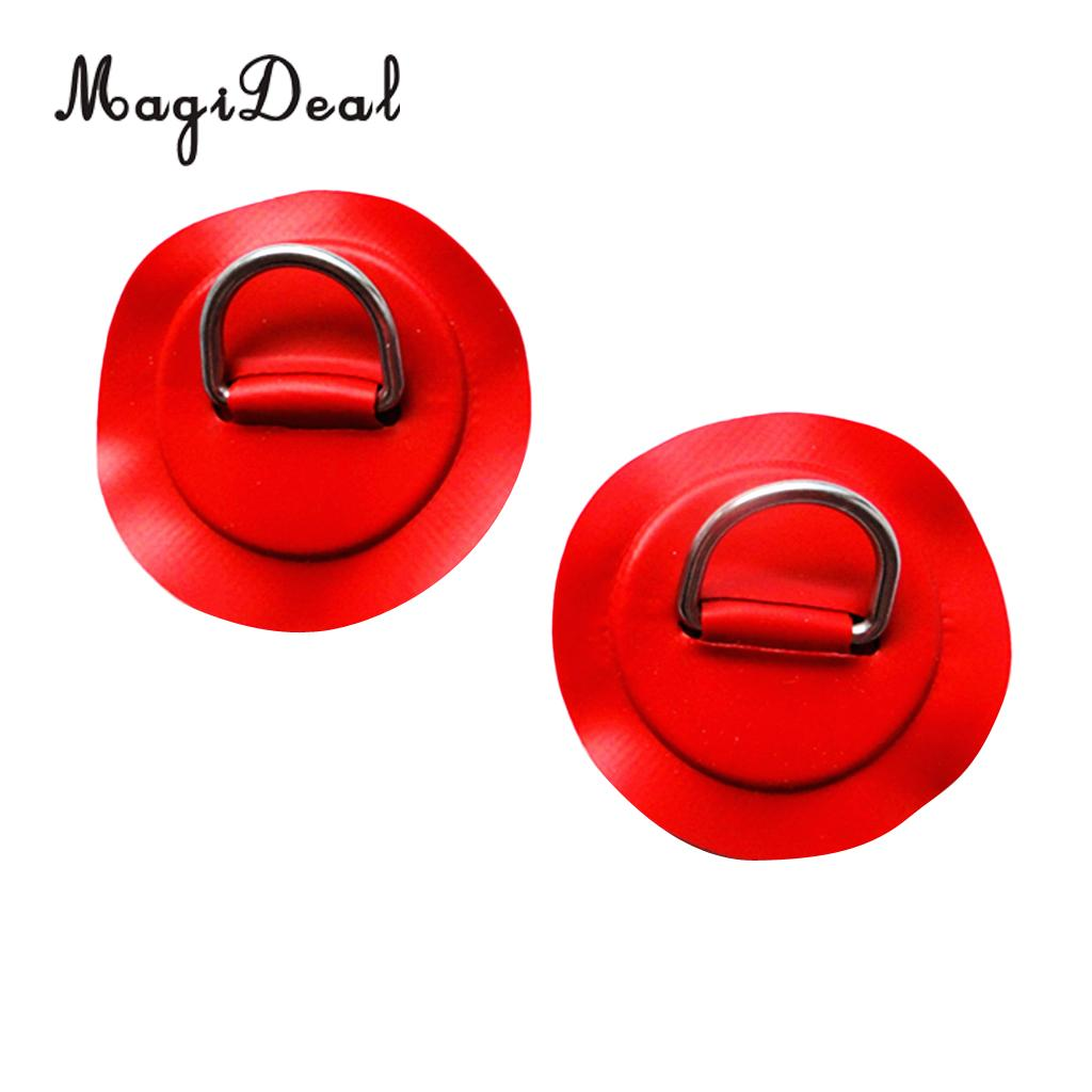 2 Pieces Red Replacement Kayak D-Ring Pad Patch For PVC Inflatable Boat Canoe SUP Surfboard Canoeing Rafting Accessories Red