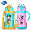 Disney 260 ML Kinderen Thermos Voeden Cup Met Stro Dubbele Gebruik Mickey Drinkwater Fles Baby Leren Drinken Geïsoleerde Beker