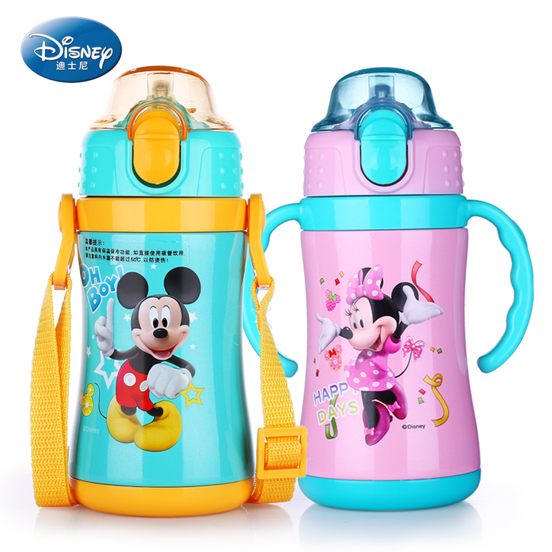 Disney 260ML Children Thermos Feeding Cup With Straw Double Use Mickey Drinking Water Bottle Baby Learn Drinking Insulated Cup