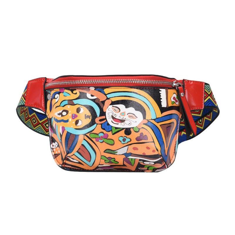Ethnic Crossbody Fanny Belt Packs For Women Personality Belt Bags PU Leather Graffiti Chest Handbag With Colorful Shoulder Belt
