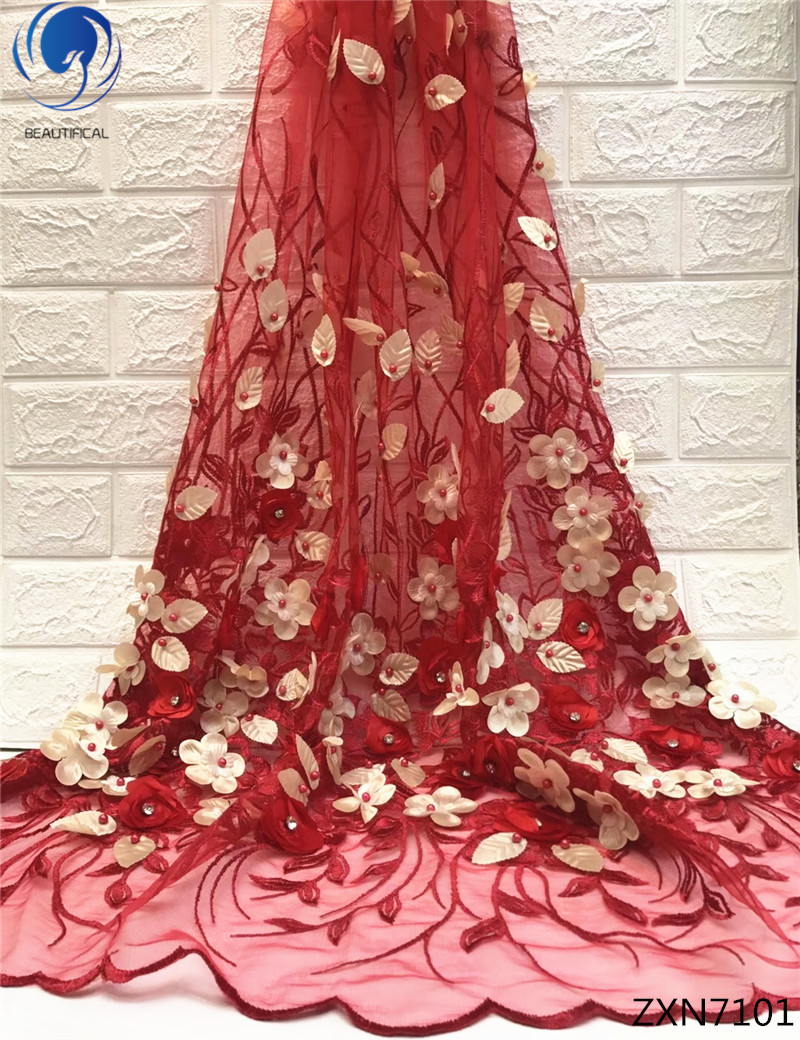BEAUTIFICAL 3d fabric lace 3d lace fabric bridal 3d flower lace fabric red color mesh for wedding dresses beads 5yards/lot ZXN71BEAUTIFICAL 3d fabric lace 3d lace fabric bridal 3d flower lace fabric red color mesh for wedding dresses beads 5yards/lot ZXN71