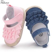 ¡Novedad de 2019! zapatos de verano para bebés recién nacidos y niñas, suela blanda, Prewalker, para bebés, antideslizante, liso con volantes, primeros andadores