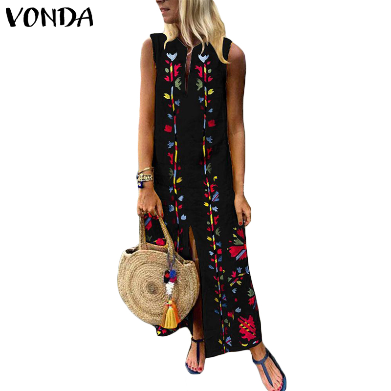 1d05b2da6eb9 VONDA Women Boho Dress 2019 Summer Sleeveless Split Shirt Dress Floral  Printed Black Party Long Kaftan Femme Casual Vestidos 5XL-in Dresses from  Women s ...