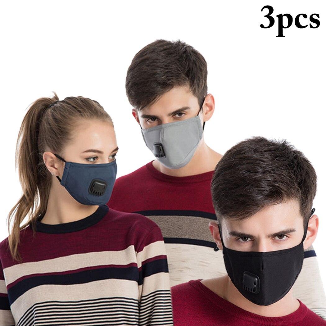 Inteligente 3 Piezas De Algodón Pm2.5 Anti Niebla Máscara De Respiración Válvula Anti-polvo De La Máscara De La Boca De Filtro De Carbono Activado Respirador La Boca- Mufla Máscara De Cara Compre Uno Y LléVese Otro Gratis