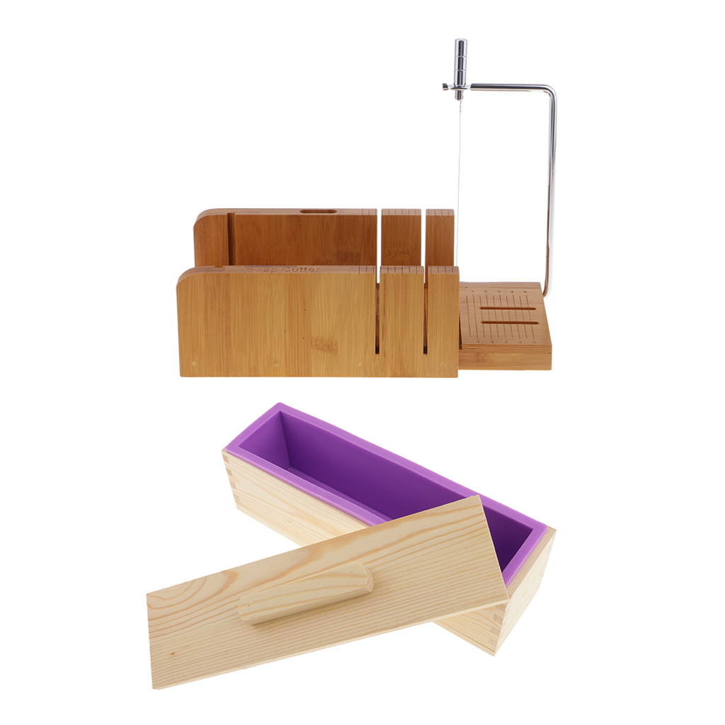 2 Pcs/set Soap Making Multifunctional Soap Cutters With Beveler Wire Slicer + 900ml Silicone Soap Loaf Mould Wood Box With Lid