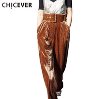 [CHICEVER] 2017 Autumn Winter Women Velvet High Waist Wide Leg Pants With Belt Female Loose Long Trousers Casual Clothes Fashion