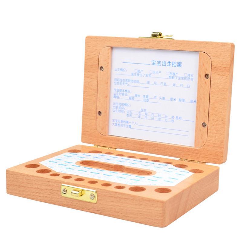 Wooden Children's Photo Frame Deciduous Tooth Storage Box Baby Teeth Storage Box