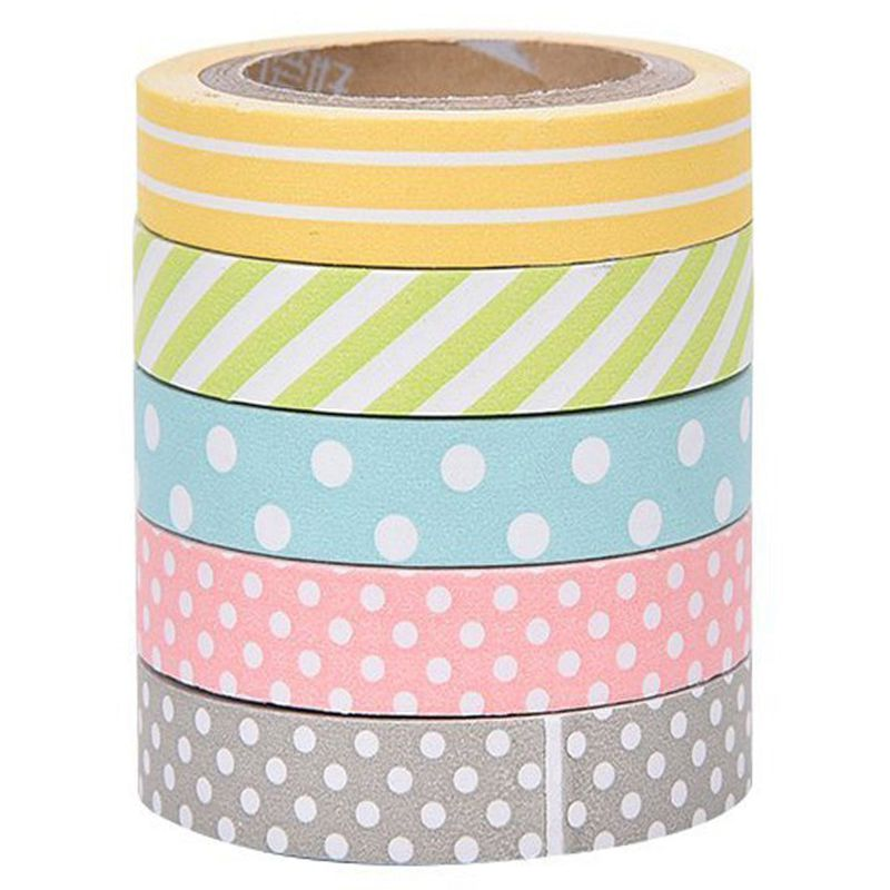 5 X Band Adhesive Sticker Masking Tape Sticky Paper Decorative Scrapbooking Accessories For DIY Scrapbook Decoration Manuals W