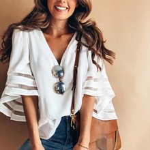 2018 New Arrived Fashion Women Chiffon Loose Blouses Mesh Patchwork V- Neck Flare Sleeve Casual Shirts