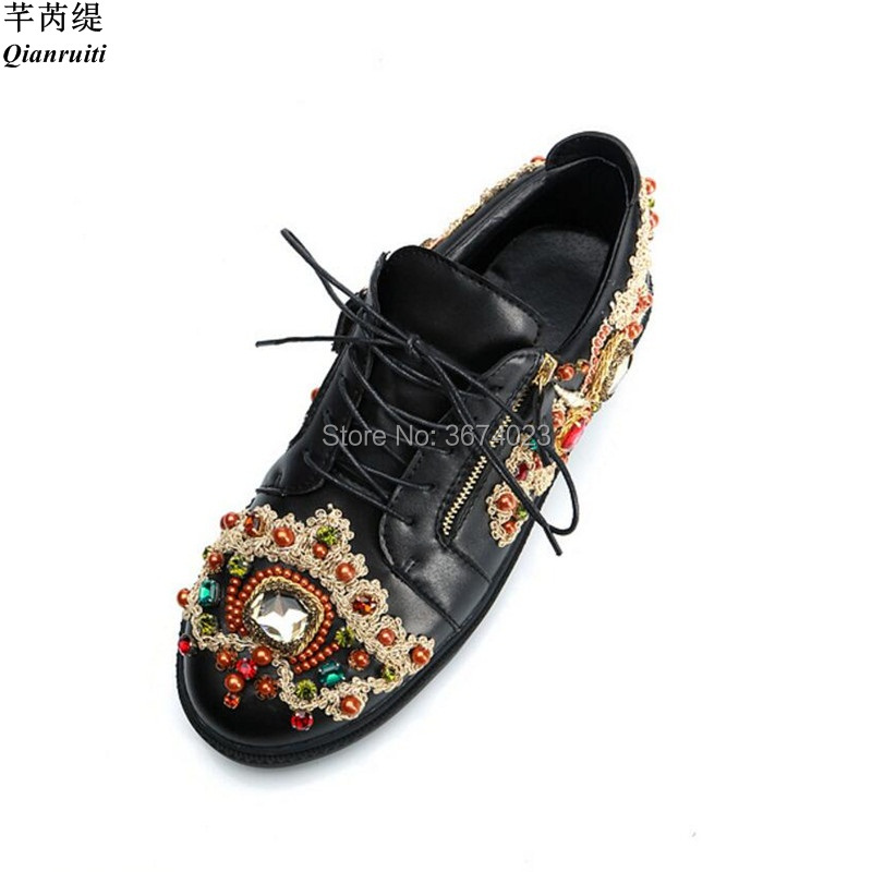 Shoes Men's Shoes Beertola Real Leather Mens Casual Shoes Embroiderd Gorgeous Fireworks Crystal Metal Decoration Slip On Loafers Handmade Shoes High Quality Goods