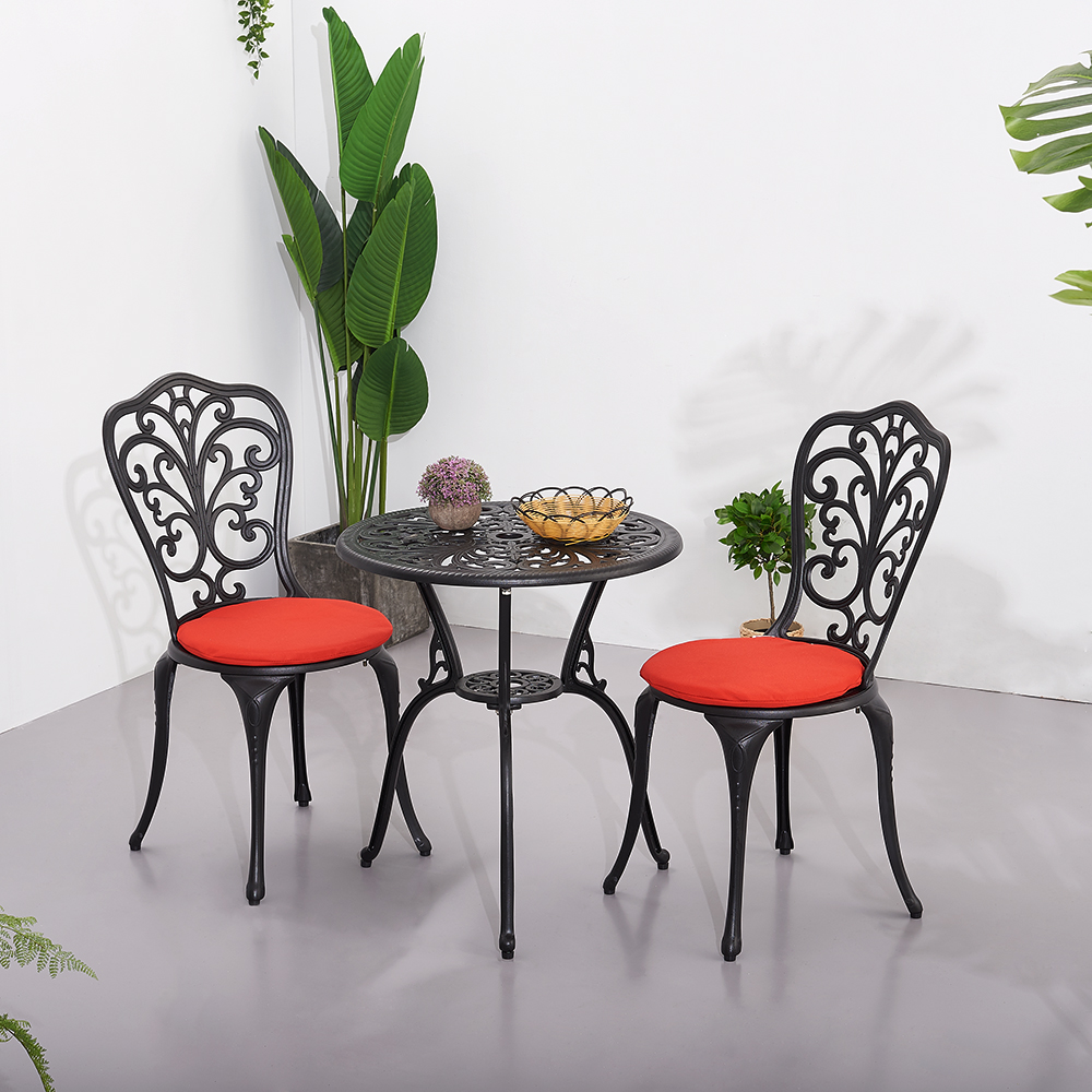 Panana Outdoor Garden Table And Chairs Set Cast Aluminium Garden Bistro Set Round Table 2 Seating Chairs