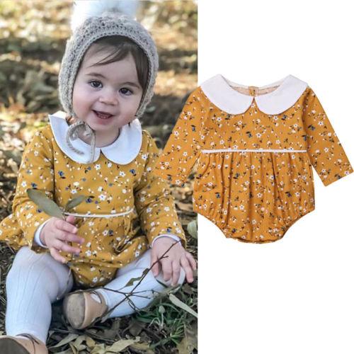 Newborn Infant Baby Girl   Rompers   Vintage Peter Pan Collar Long Sleeve Baby Girls   Romper   Jumpsuit Flower Baby Clothing