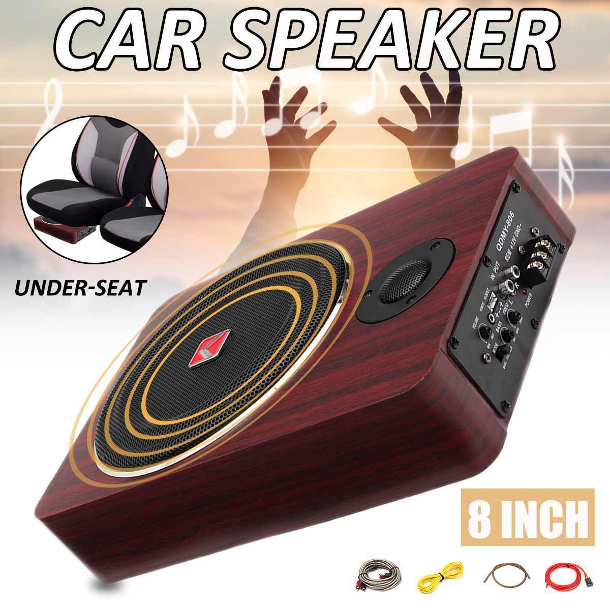 8 inch 600W Wooden Active Power Car Amplifier Subwoofers Speaker Under Seat 12V Auto Truck Audio Stereo Brass Speakers
