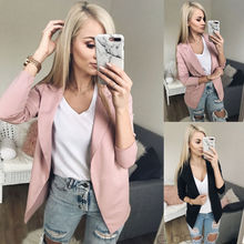 2019 Fashion Women Casual Suit Coat Business Blazer Long Sleeve Jacket Outwear Ladies Black pink Slim Blazer Coat