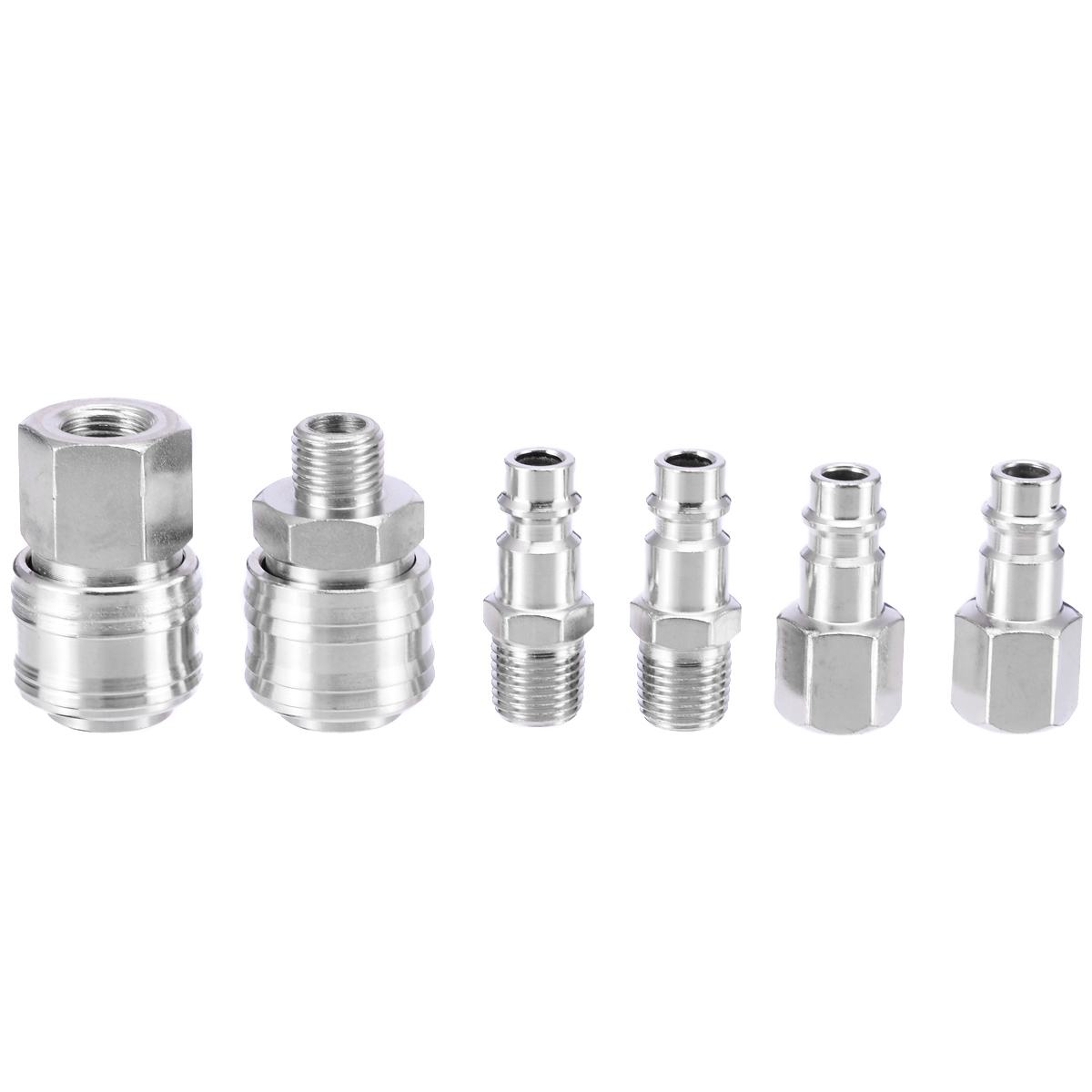 6pcs Mayitr Air Hose Compressor Connector Euro Fittings Male Quick Release Set with 1/4 BSP Thread 6pcs euro air hose compressor fittings connector female male quick release 1 4 bsp thread