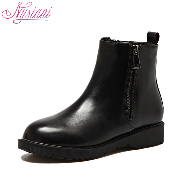 0f2d61a0e08a 2018 Women Ankle Boots Black Low Heel Brand Designer Round Toe Winter  Square Heel Fashion Ladies Motorcycle Warm Boots Nysiani