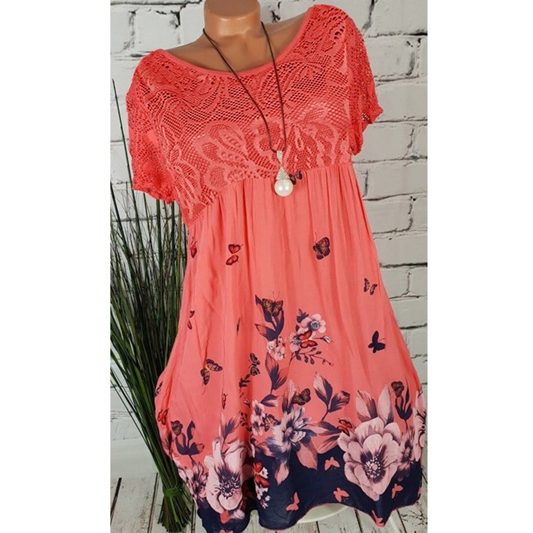 Plus Size 2019 New Lace Hollow Out A Line Dress Women Short Sleeve Floral Print Dresses Large Size Empire Dress in Dresses from Women 39 s Clothing