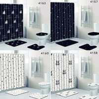 Bathroom Non slip Mat Set Lid Toilet Cover Pedestal Rug Bath Shower Curtain 4Pcs Slip Resistance Absorb Water Dust Bed Car Seat