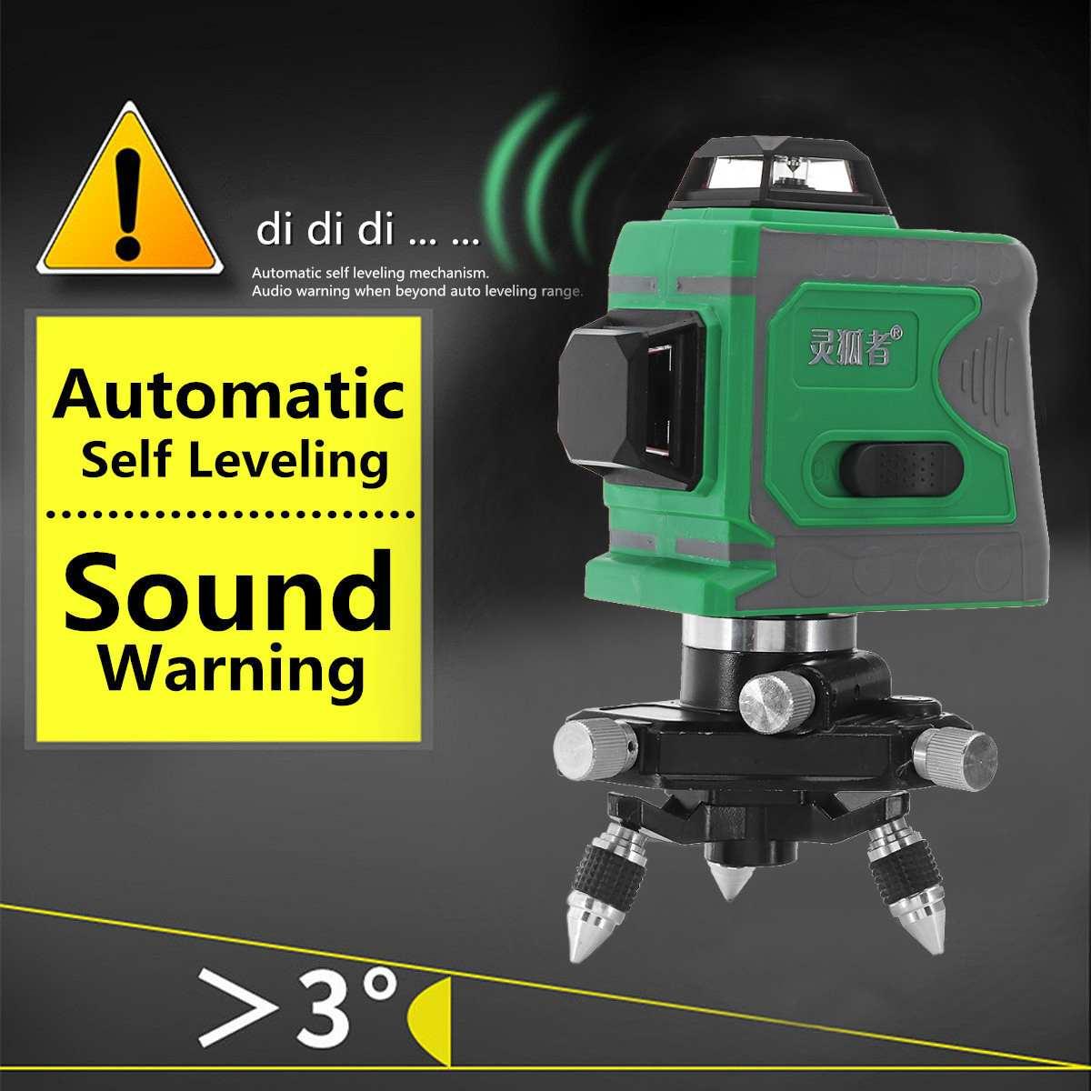 3D 12 линия зеленый свет лазерный уровень Авто самонивелирующийся 360 Поворотный мера Горизонтальный Вертикальный крест самонивелирующий 635nm ...